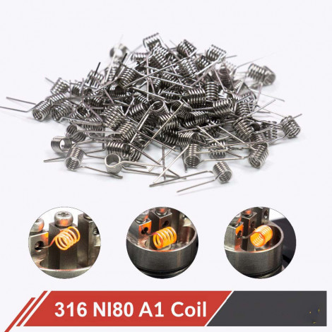 100pcs/pack A1 SS316 Ni80 Coil Wire Coiling Prebuilt Coil Resistance 22 24 26 28 30GA Heating Coil Wire