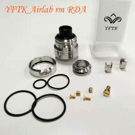 YFTK AIRLab RM (Remastered) Style RDA Rebuildable Dripping Atomizer 316 Stainless Steel with BF Pin Silver 22mm Diameter