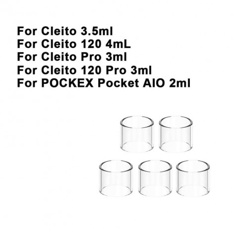 Replacement Glass Tube Tank For Aspire cleito 120 Pro POCKEX Pocket AIO Cleito Cleito 120