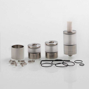 Dvarw V2 Style MTL RTA Atomizer Airflow Control Sets Spare Tank Sets Silver 316 Stainless Steel, 5ml, 22mm Diameter
