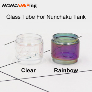 3PCS With Cap Replacement Fat Extend Bulb Bubble Glass Tube for Uwell Nunchaku tank - Clear