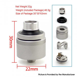 SXK 5A's Basic V2 Style RDA Rebuildable Dripping Vape Atomizer w/ BF Pin Silver, 316SS 22mm RDA